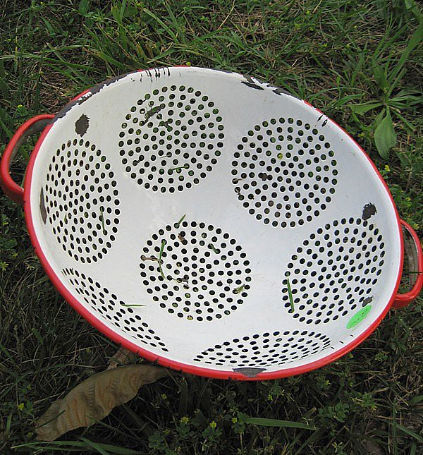 Old Metal Colander- White and Red