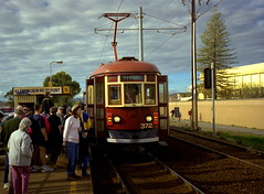 Adelaide, H-class 372 waiting to be the Olympic torch carrier (railfan3) Tags: 2000 day south july first tram australia 15 games h flame torch type adelaide olympic interurban glenelg trams relay 38 tramstop 372 bayline morphettville hclass adelaidetram adelaidetrams