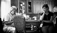An Old Woman And Her Daughter (Baab1) Tags: blackandwhite bw monochrome nikon kitchens sitting daughters maryland mothers thinking conversations familyreunion familygathering d300 southernmaryland mothersanddaughters 1755nikkor niksoftware theunforgettablepictures huntingtownmaryland