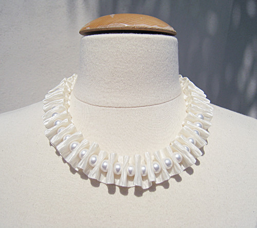 Bark Ribbon and Pearl Necklace -dress form