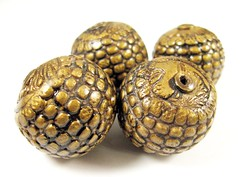 Faux Antique Brass Pebble Textured Focal Beads (3)