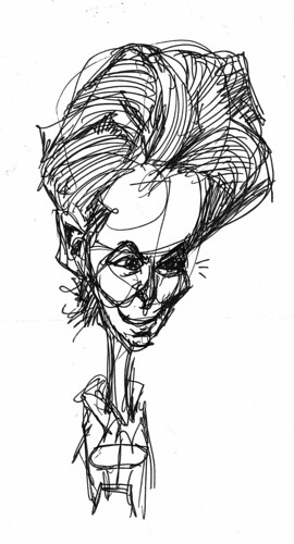 prototype for Tilda Swinton caricature sketch