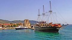 Greece, Macedonia, Ouranoupolis harbor,   small ferry & vintage like  schooner for short cruises around Mount Athos peninsula (bilwander) Tags: greecemacedonia agiooros cruise chalkidiki aegeansea macedoniatravel greece makedonia macedoniatimeless macedonian macédoine mazedonien μακεδονια ancient greek culture vergina sun blog star thessaloniki hellenic republic prilep tetovo bitola kumanovo veles gostivar strumica stip struga negotino kavadarsi gevgelija skopje debar matka ohrid mavrovo heraclea lyncestis history alexander great philip macedon nato eu fifa uefa un fiba macedonianstar verginasun macedoniapeople macedonians peopleofmacedonia macedonianpeople macedoniablog macedoniagreece timeless македонија macedonianews macedoniapress македонијамакедонскимакедонци bilwander