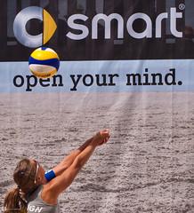 smart beach tour 2010 - muenster - steffi open your mind. (dermedienwirt) Tags: beachvolleyball roadsign mnster smartbeachtour steffihttermann
