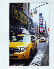 Times Square (kaylarjones) Tags: road nyc newyorkcity trip urban usa film yellow polaroid route66 midwest cab taxi roadtrip timessquare fujifilm instax210