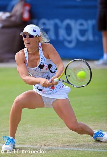 Russian born Australian Tennis star Anastasia Rodionova in action on tennis court