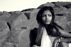 Chandra (Meera Navare) Tags: sea people beach water portraits sand surf auroville meeranavare