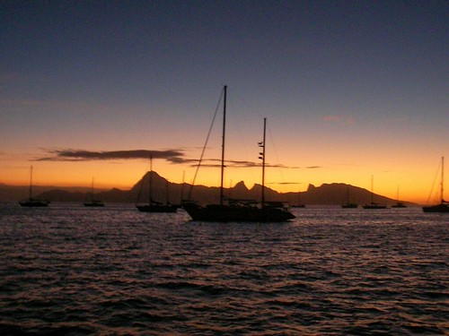 Moorea in the Sunset from Papeete