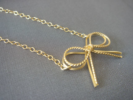 16K Matte Gold Plated Ribbon with Gold-filled Chain