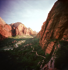 zion: the descent from angel's landing (manyfires) Tags: sunset film nature landscape outdoors hiking cliffs pinhole trail backpacking zion angelslanding zionnationalpark redrock heights zero2000 steep zeroimage