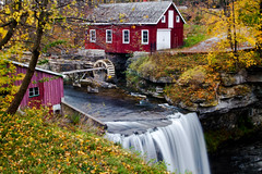 Morningstar Mill in Thorold, Ontario (Christopher Brian's Photography) Tags: longexposure autumn red ontario canada color colour fall mill leaves yellow f45 waterfalls thorold sigma1735 morningstarmill canoneos7d