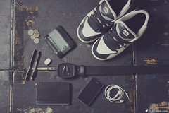 My Monochromatic Life (Rick Nunn) Tags: white black moleskine pen pencil notebook belt shoes paint personal coins box wallet monochromatic rubber nixon nike identity tape card zebra headphones 60 iphone ef50mmf14usm