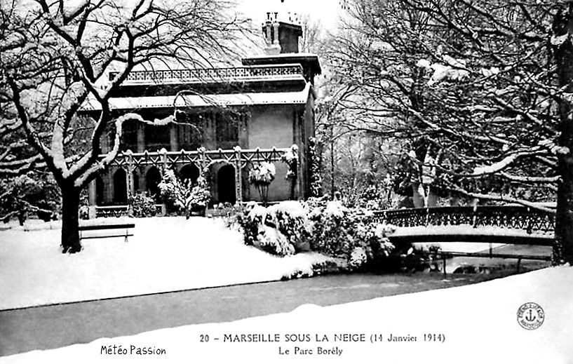 parc Borély à Marseille sous la neige le 14 janvier 1914