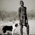 Muhimba boy and his dog - Angola