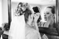 Bride applying make-up (Daka David) Tags: chautauquacommunityhouse boulder co colorado bride makeup gettingready wedding blackwhite monochrome nikonf100 nikon50mmf14 legacypro400 neopan400 richardphotolab