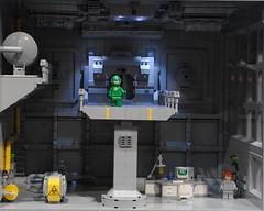 Inside the Interga-LUG-tic space station (Brizzasbricks) Tags: classicspace lego space hanger cargoarea gantry walkway spaceman ncs neoclassicspace spacedoor coridoor