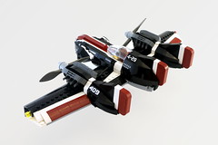F-09 Trident - rear (Sylon-tw) Tags: sylontw sylon plane aircraft airplane dieselpunk dieselpulp moc lego skyfi wing wings trident