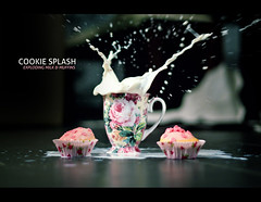 cookie splash (milk&muffins) (fotogamie) Tags: pink flower cup tasse rose 50mm muffins cupcakes milk cookie cross bokeh rosa livingroom splash f18 kekse wohnzimmer milch flowercup canoneos40d cookiesplash
