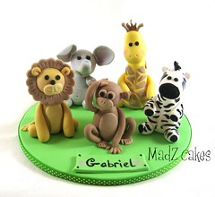 Zoo animals (Wild sugar Rose) Tags: elephant animals zoo monkey lion figurines jungle zebra giraffe gumpaste