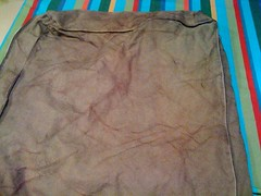 iDye chestnut came out greeny olive with red crumple marks the first time