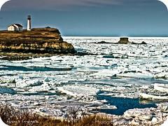 Do I Miss You? (amysimages2005) Tags: ocean blue winter light lighthouse white house snow canada ice water rock season novascotia olympus capebreton atlanticocean picnik atlanticcanada e140 olympuse410