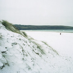. (Rebecca...) Tags: uk snow 120 tlr film beach mediumformat cornwall surreal expired twinlensreflex portra160vc crantock yashica24