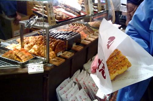 Crispy rice cakes found in Nishiki Market, Kyoto