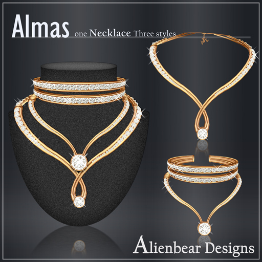 Almas gold necklace white