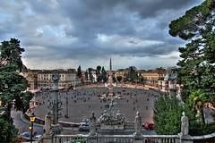 Piazza del Popolo (Bo AhmaD) Tags: trees sky italy rome roma clouds italia statues obelisk piazzadelpopolo peoplessquare boahmad pinciohill