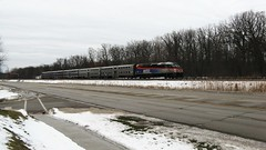 A speeding southbound Metra commuter train. Baneckburn Illinois. January 2010.