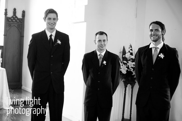 Groom and groomsmen waiting. All Saints Chapel, Woodville, Newcastle.