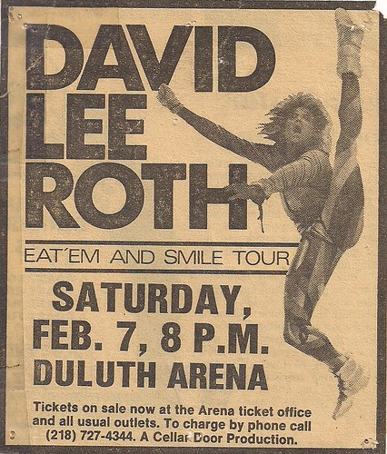 02/07/87 David Lee Roth/Tesla @ Duluth, MN (Ad)