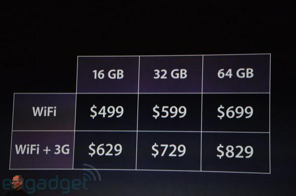 La liste des prix iPad