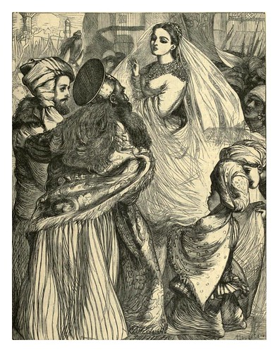 023-La reina Labe se desvela ante el rey Beder-A.B. Housgston-Dalziel's Illustrated Arabian nights' entertainments (1865)