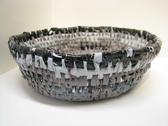 black, grey, silver recycled plastic basket (sarahracha) Tags: green spiral basket recycled woven coil weave plasticbags plarn