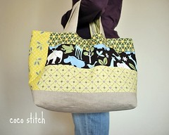 family tote for mama (coco stitch) Tags: green animal yellow bag big mother pouch etsy tote michaelmiller diperbag cocostitch
