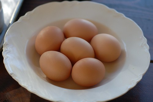 A bowl of pasture-raised eggs await their fate...