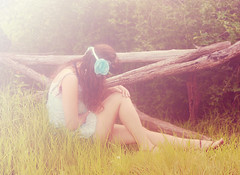 Lost in this Moment. (Rainbow Sherbert - { Juli }) Tags: selfportrait flower green me grass sp headband anonymousportrait aromos2010