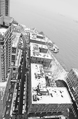 Battery Place, Wednesday Morning (Jay Fine) Tags: nyc newyorkcity blackandwhite snow newyork water rooftops hudsonriver statueofliberty batteryparkcity lowermanhattan