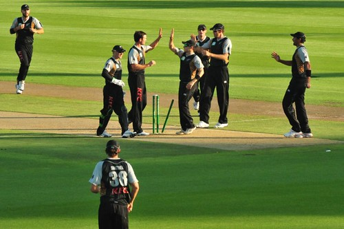 Clean bowled and New Zealand Black Caps celebrate