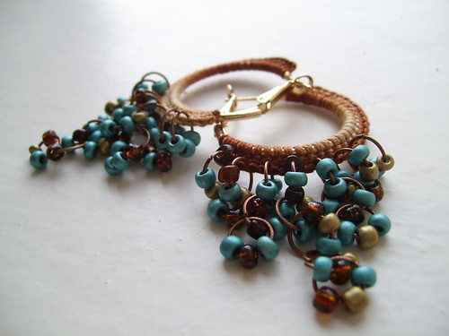 Brown and turquoise crocheted hoops