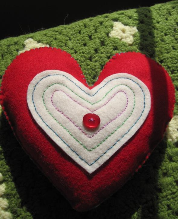 Homemade heart pillow