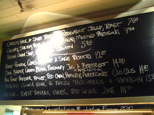 Daily Specials Menu - The Garrison, Bermondsey Street