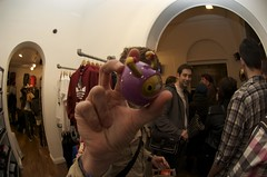 Jazzybam gets the chase (JamFactory) Tags: droplet toy vinyl series2 s2 fiftyfifty bristol launch party night gallery exhibition showcase uk plastic fisheye jamfactory crazylabel