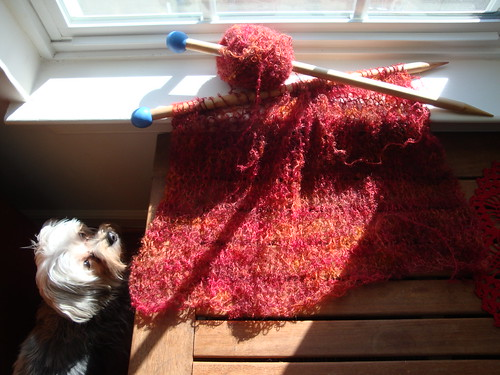 Red Boucle Shawl 02