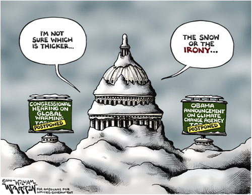 Warren cartoon - snow or irony