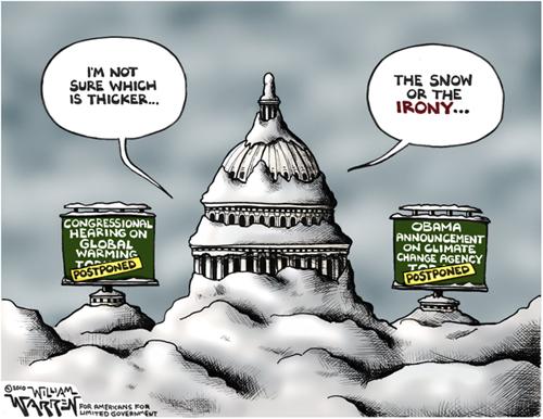 Warren cartoon - snow or irony