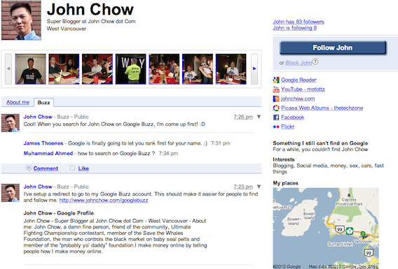 John Chow on Google Buzz