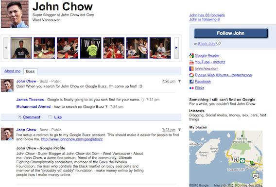 John Chow on Google Buzz