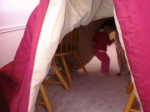 She loves playing in this fort